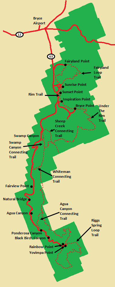 Wanderlust Travel & Photos - Bryce Canyon National Park Map