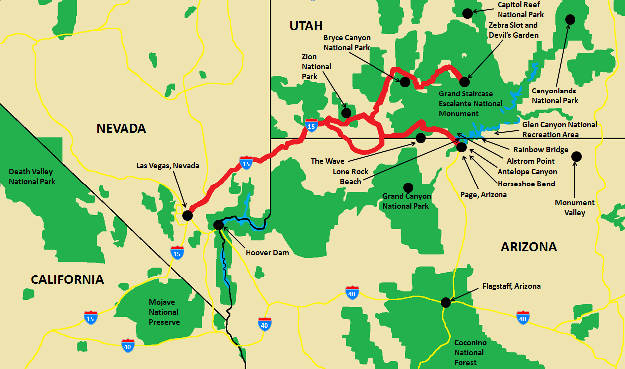Wanderlust Travel Photos 7 Day Southwest Us Adventure Map - Map-of-south-west-us