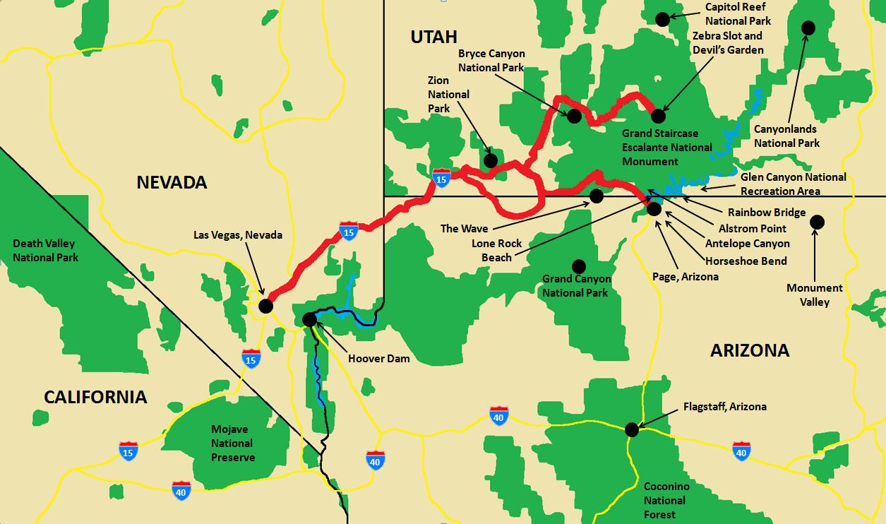 Wanderlust Travel & Photos - 7 Day Southwest US Adventure Map